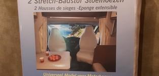Antraciet Cabine Stoelhoezen Universeel in Stretch-Badstof per set van twee